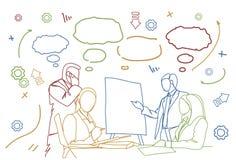 De Team Seminar Group Of Businesspeople Sit At Desk Together Brainstorming executivos da garatuja da reunião ilustração stock