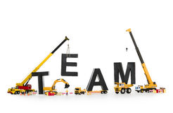 De teambouw: Machines die team-woord bouwen. stock foto's