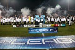 De Teams van Paok en van de Voetbal Panathinaikos Royalty-vrije Stock Foto's