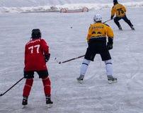 De teamsstrijd van de hockeygelijke voor puck royalty-vrije stock afbeelding