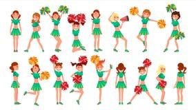 De Teamsvector van Cheerleading van het middelbare schoolberoep In Actie Ventilatorsmeisjes die met Pompoms dansen Het springen e vector illustratie