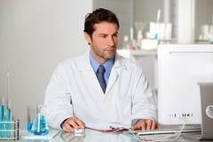 De technicus die van het laboratorium resultaten op een computer bestudeert Stock Afbeelding
