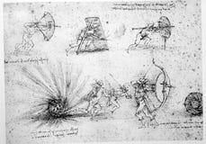 De techniektekening van Leonardo stock afbeelding