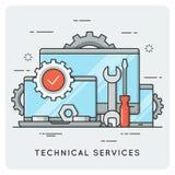 De technische Diensten Dun lijnconcept Stock Afbeelding