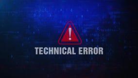 De technische Foutenmelding die van de Fouten Waakzame Waarschuwing op het Scherm knipperen stock illustratie