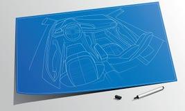 De technische tekening van de het conceptenauto van de crosslanecoupé Stock Foto's
