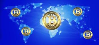 De technologie abstracte achtergrond van Bitcoincryptocurrency blockchain 3d ilustration stock afbeelding