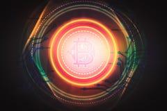 De technologie abstracte achtergrond van de Bitcoinscène Royalty-vrije Stock Afbeeldingen