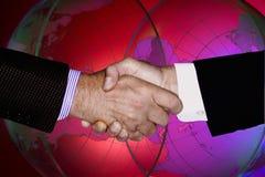 DE TECHNOLOGIE COMMERCIËLE VAN DE HANDschok GLOBALE INDUSTRIE Royalty-vrije Stock Foto
