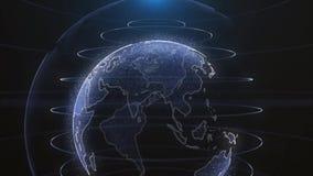 De technologie van de bedrijfs aarde roterend animatie toekomstig concept Digitale glanzende bol van Aarde Omwenteling van glanze vector illustratie