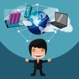 De Technologie van de bedrijfs arbeidersmens Gadgetvector Stock Afbeelding