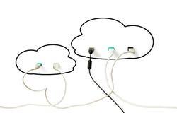 De technologie van de wolk Moderne informatie-uitwisseling en gegevensopslag stock afbeeldingen