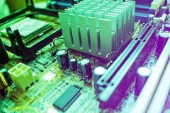 De technologie van de elektronische computerhardware Motherboard digitale spaanderachtergrond stock foto