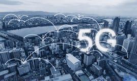 De technologie van de netwerkverbinding in de stad, met het voorzien van een netwerkteken van 5g Internet stock foto's
