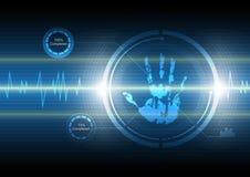 De technologieachtergrond van het aftasten handprint Stock Foto