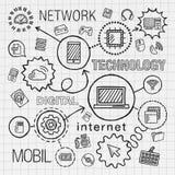 De technologiehand trekt geïntegreerde geplaatste pictogrammen EPS 10 vector illustratie