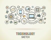 De technologiehand trekt integreert pictogrammen vector illustratie