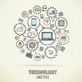 De technologiehand trekt schetspictogrammen stock illustratie