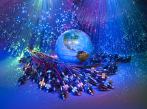 De technologiestijl van de wereldkaart Stock Afbeeldingen