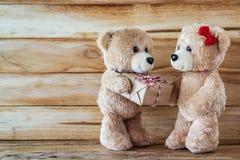 De teddybeer heeft een gift aan meisjesvriend Stock Foto