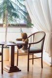 De teddybeer leest een boek in de bibliotheek - bestuderend scène stock foto