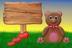De Teddybeer van de valentijnskaart Stock Afbeeldingen
