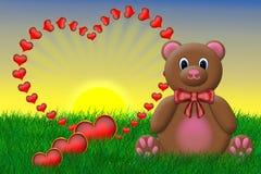 De Teddybeer van de valentijnskaart Royalty-vrije Stock Foto's