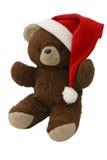 De Teddybeer van Kerstmis op Rood 2 royalty-vrije stock fotografie