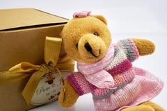 De teddybeer zit met giftdoos in bruine doos op witte achtergrond Stock Foto