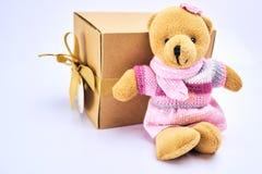 De teddybeer zit met giftdoos in bruine doos op witte achtergrond Royalty-vrije Stock Afbeeldingen
