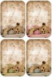 De teddybeerkaart van Grunge. Stock Fotografie