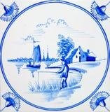 De Tegel van de Visser van Delft stock afbeelding