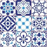 De tegels van Lissabon ontwerpen, het vector naadloze patroon van Azulejo, abstracte en bloemendiedecoratie door de kunst van de  stock illustratie