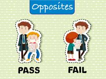 De tegenovergestelde woorden voor pas en ontbreken vector illustratie