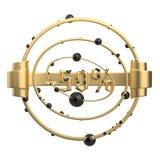 De teken-50off abstracte ronde samenstellingen met gezicht, ringen en gebieden Gemaakt van gouden metaal isoleer op wit vector illustratie