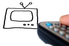 De tekening en de afstandsbediening van TV ter beschikking. Stock Afbeeldingen