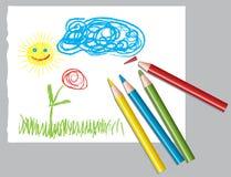 De tekening en de kleurpotloden van het kind Stock Fotografie
