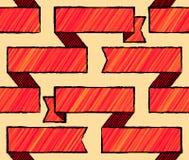 De tekening stileerde naadloos patroon met linten Stock Foto's