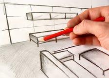 De tekening van de architectuur royalty-vrije stock afbeelding