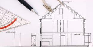 De tekening van de bouw van een huis Stock Foto
