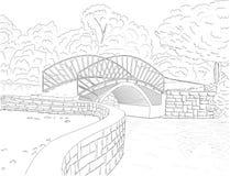 De Tekening van de brug Stock Foto's