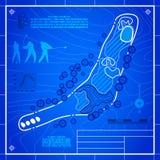 De tekening van de de lay-outblauwdruk van de golfcursus royalty-vrije illustratie