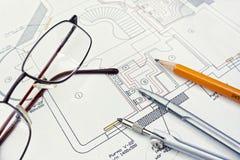 De tekening van de ingenieur stock foto's