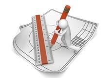 De tekening van de ingenieur met potlood en heerser Royalty-vrije Stock Afbeeldingen