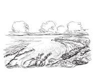 De tekening van de landschapsschets royalty-vrije illustratie
