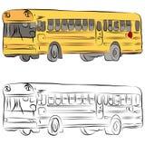 De Tekening van de Lijn van de Bus van de school Stock Afbeelding