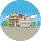 De tekening van de lijn van een huis Stock Afbeelding
