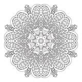 De tekening van de Mandalakrabbel Bloemen rond ornament Stock Afbeelding