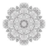 De tekening van de Mandalakrabbel Bloemen rond ornament Stock Fotografie