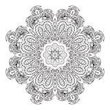 De tekening van de Mandalakrabbel Bloemen rond ornament Stock Foto
